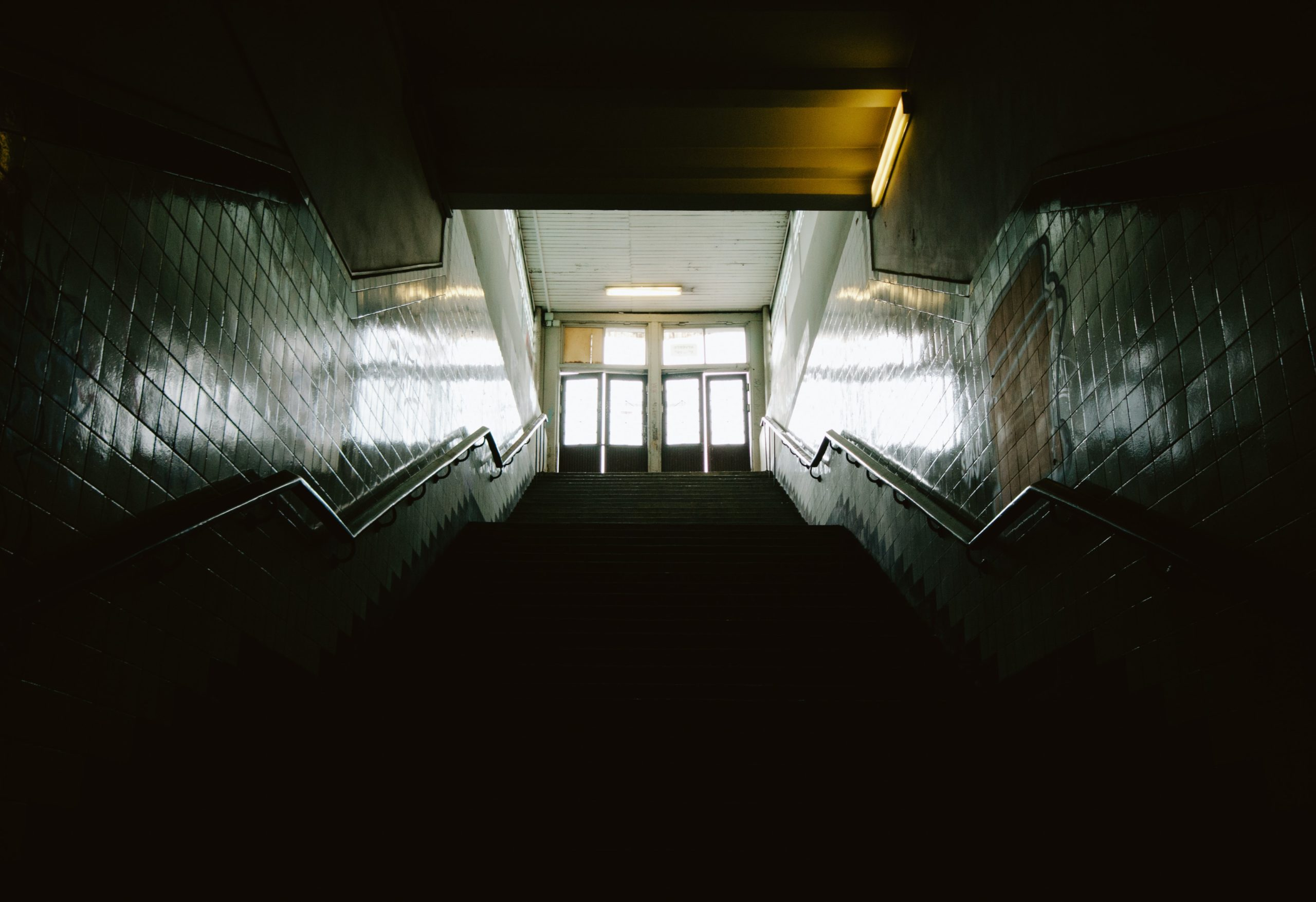 Empty School Stairwell with light shining through